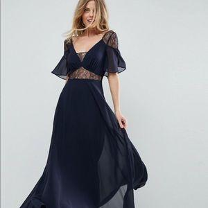 lace insert flutter sleeve maxi dress.